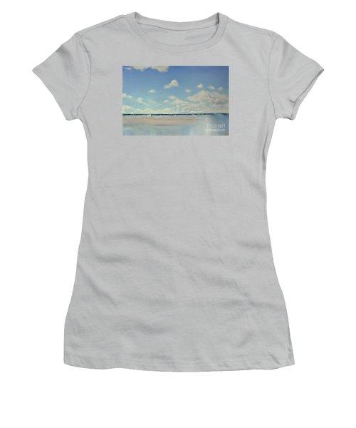 Women's T-Shirt (Junior Cut) featuring the painting Study Of Blue Nr 1 by Maja Sokolowska