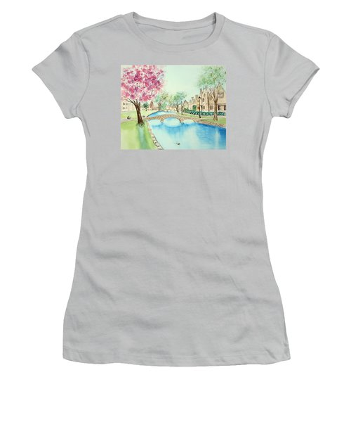 Women's T-Shirt (Athletic Fit) featuring the painting Summer In Bourton by Elizabeth Lock