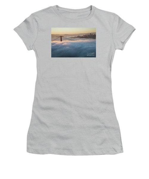 Women's T-Shirt (Junior Cut) featuring the photograph Sun Rise At Golden Gate Bridge by David Bearden