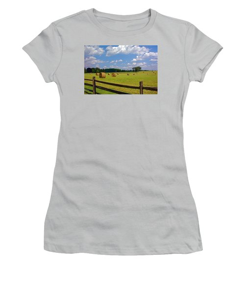 Women's T-Shirt (Junior Cut) featuring the photograph Sun Shone Hay Made by Byron Varvarigos