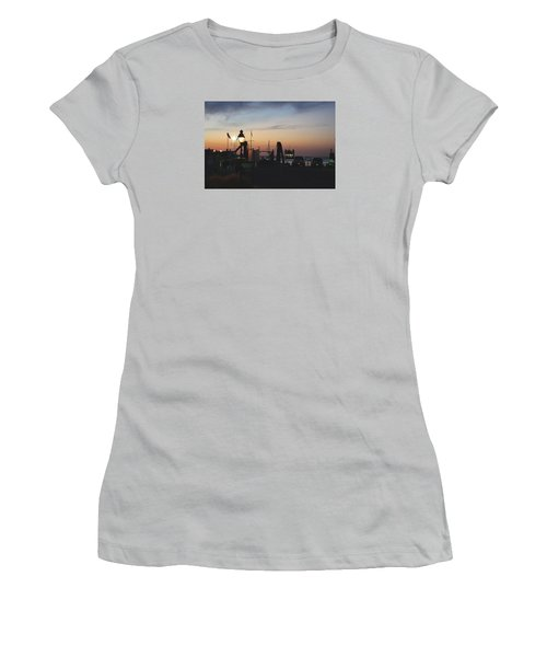 Sundown At The Harbor Women's T-Shirt (Junior Cut) by Margie Avellino