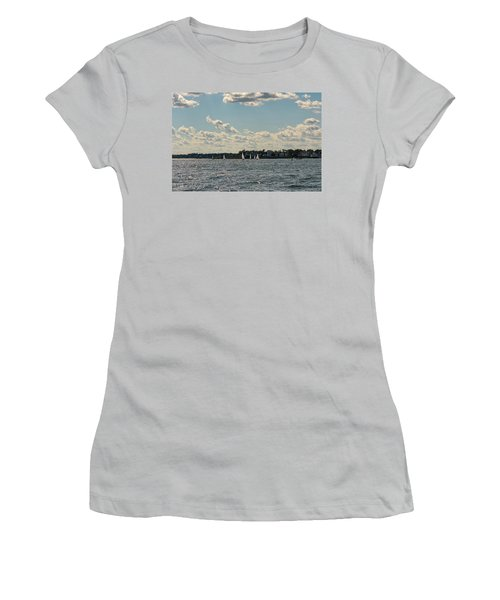 Sunlit Sailboats Norwalk Connecticut From The Water Women's T-Shirt (Junior Cut) by Marianne Campolongo