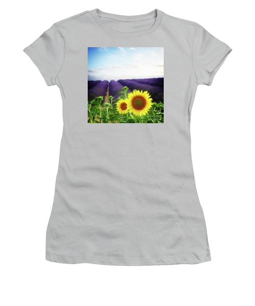 Sunrise Over Sunflower And Lavender Field Women's T-Shirt (Athletic Fit)