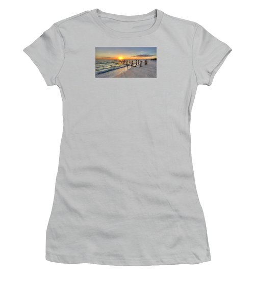 Sunset Pilings Women's T-Shirt (Junior Cut) by Sean Allen