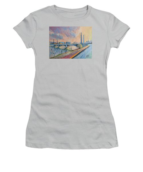 Sunset Pont Fragnee Women's T-Shirt (Athletic Fit)