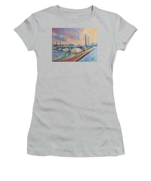 Sunset Pont Fragnee Women's T-Shirt (Athletic Fit)