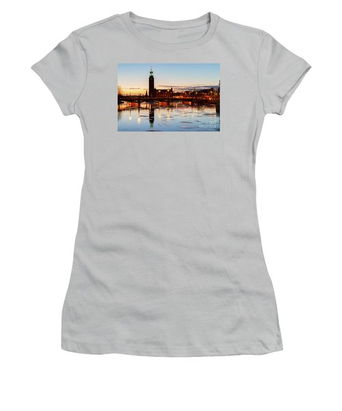 Sunset With Cityhall Of Stockholm Women's T-Shirt (Junior Cut) by Anastasy Yarmolovich
