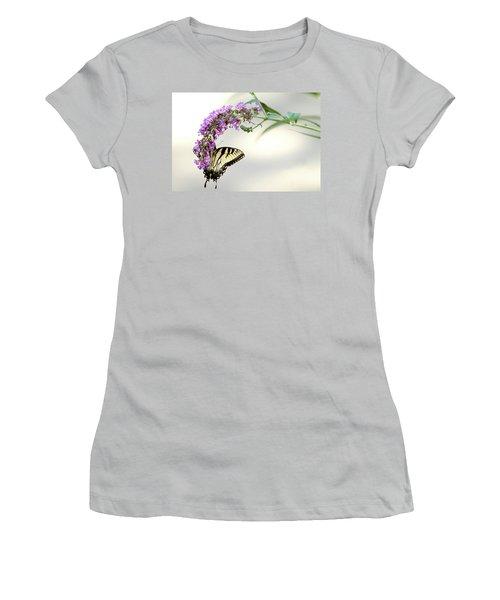 Swallowtail On Purple Flower Women's T-Shirt (Junior Cut) by Emanuel Tanjala