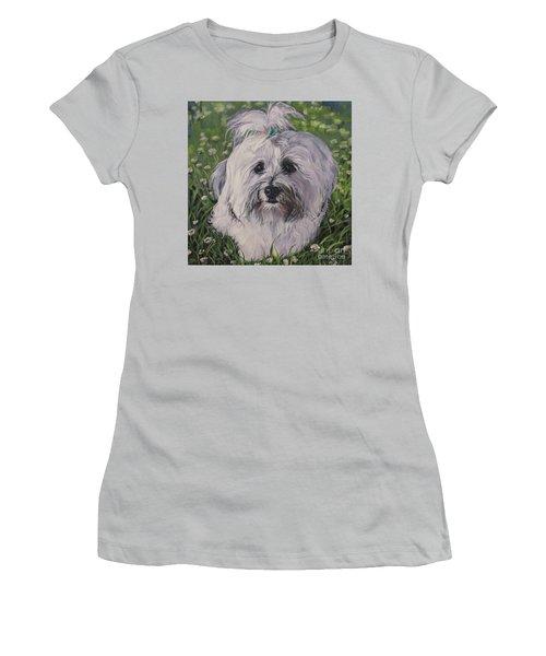 Women's T-Shirt (Junior Cut) featuring the painting Sweet Havanese Dog by Lee Ann Shepard