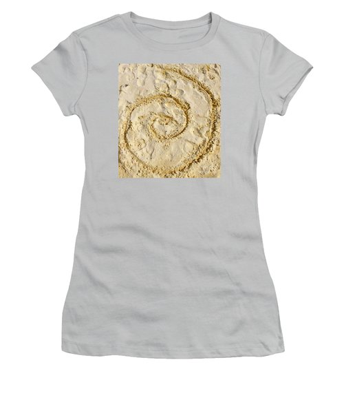 Women's T-Shirt (Athletic Fit) featuring the photograph Swirl Drawn In The Sand by Francesca Mackenney