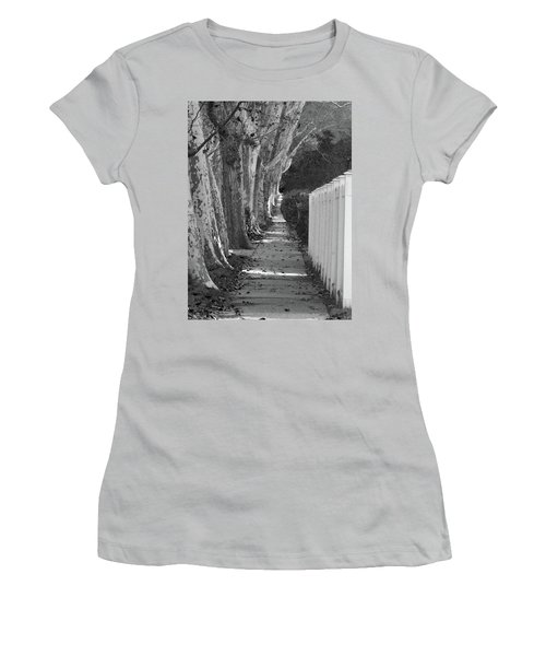 Sycamore Walk-grayscale Version Women's T-Shirt (Athletic Fit)