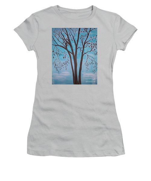Women's T-Shirt (Junior Cut) featuring the painting Teal And Brown by Leslie Allen