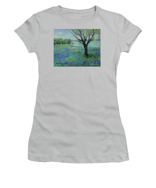 Women's T-Shirt (Athletic Fit) featuring the painting Texas Bluebonnet Trail by Robin Maria Pedrero