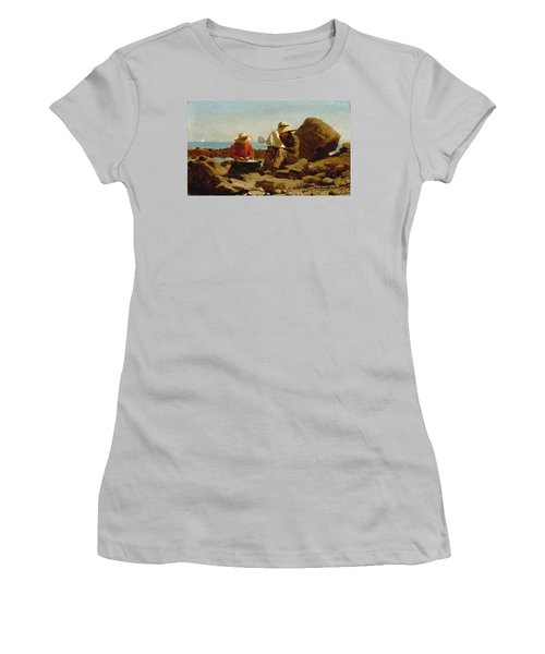 Women's T-Shirt (Junior Cut) featuring the painting The Boat Builders - 1873 by Winslow Homer