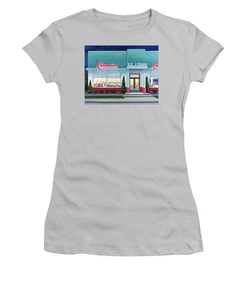 The Carnation Ice Cream Shop Women's T-Shirt (Athletic Fit)
