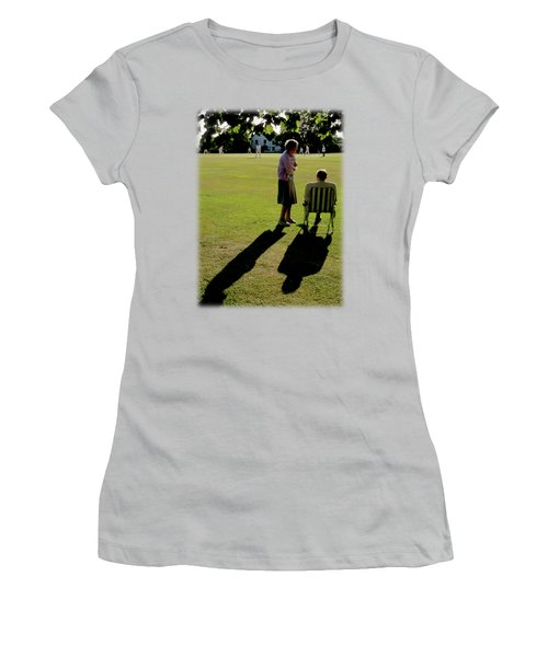 The Cricket Match Women's T-Shirt (Junior Cut) by Jon Delorme