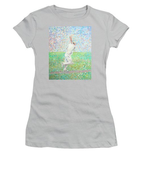 Women's T-Shirt (Athletic Fit) featuring the painting The Cricketer by Elizabeth Lock