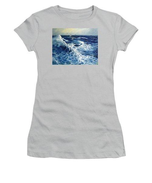 The Deep Blue Sea Women's T-Shirt (Junior Cut) by Eileen Patten Oliver