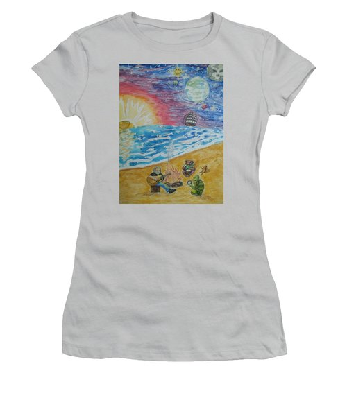 Women's T-Shirt (Junior Cut) featuring the painting The Gathering by Thomasina Durkay