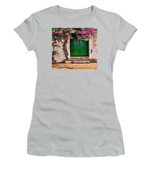 The Green Door Women's T-Shirt (Junior Cut) by Rod Jellison