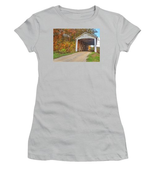 Women's T-Shirt (Junior Cut) featuring the photograph The Harry Evans Covered Bridge by Harold Rau
