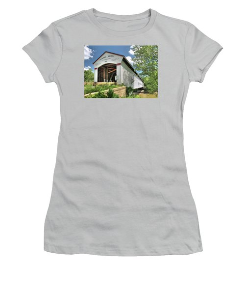 Women's T-Shirt (Junior Cut) featuring the photograph The Jackson Covered Bridge by Harold Rau