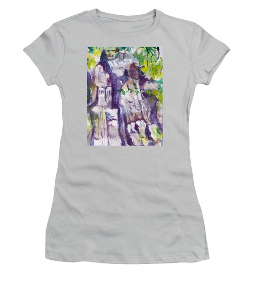 The Little Climbing Wall Women's T-Shirt (Junior Cut) by Jan Bennicoff