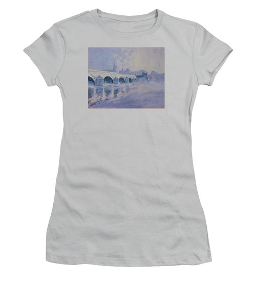 The Old Bridge In Morning Fog Maastricht Women's T-Shirt (Athletic Fit)