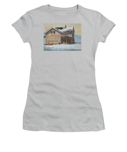 the Old Farm House Women's T-Shirt (Junior Cut) by Len Stomski