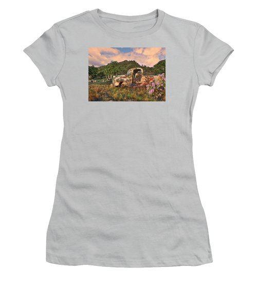 Women's T-Shirt (Athletic Fit) featuring the digital art The Old Farm Truck by Mary Almond