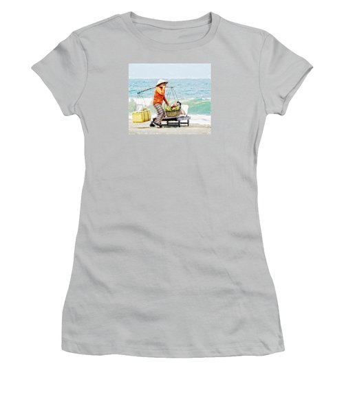 The Smiling Vendor Women's T-Shirt (Junior Cut) by Cameron Wood