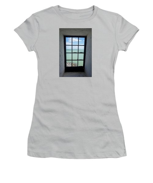 The View From The Lighthouse Window Bill Baggs Lighthouse Key Biscayne Florida Women's T-Shirt (Athletic Fit)