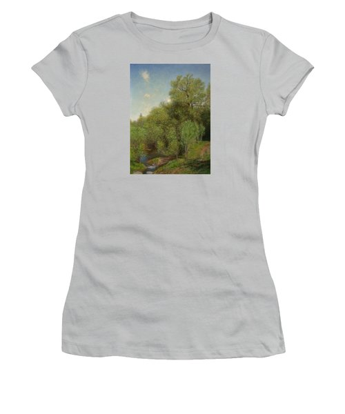 Women's T-Shirt (Junior Cut) featuring the painting The Willow Patch by Wayne Daniels