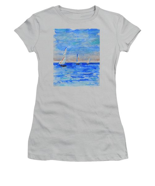 Three Boats Women's T-Shirt (Junior Cut) by Jamie Frier