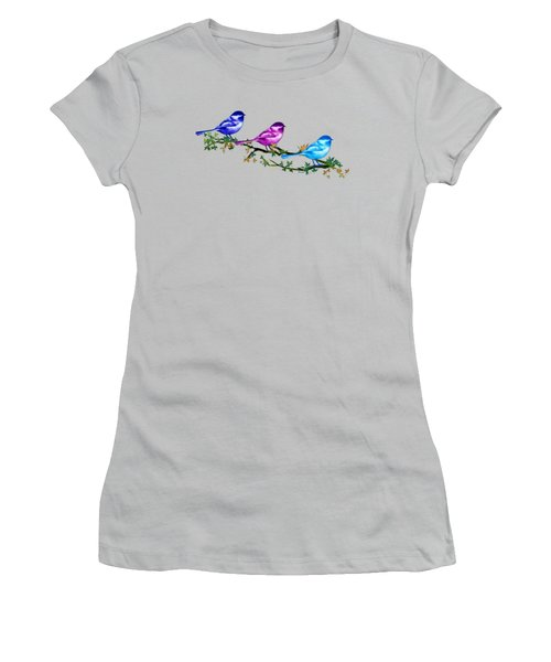 Three Chickadees Women's T-Shirt (Junior Cut) by Teresa Ascone