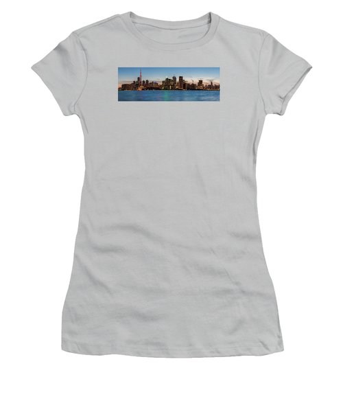 Women's T-Shirt (Athletic Fit) featuring the photograph Toronto Skyline At Dusk Panoramic by Adam Romanowicz