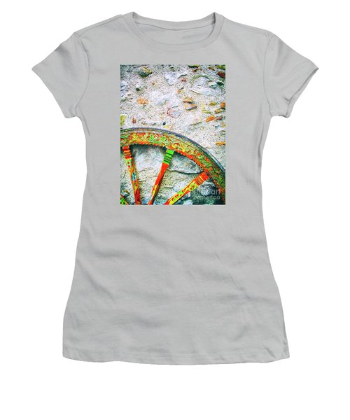 Women's T-Shirt (Athletic Fit) featuring the photograph Traditional Sicilian Cart Wheel Detail by Silvia Ganora