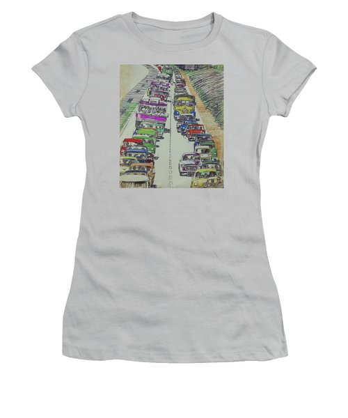 Women's T-Shirt (Junior Cut) featuring the drawing Traffic 1960s. by Mike Jeffries