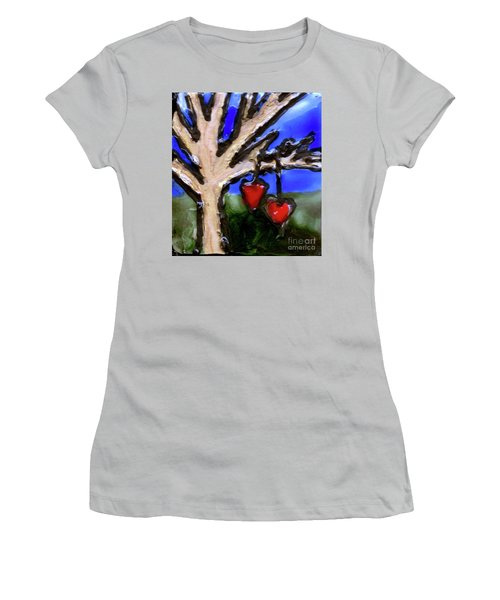 Women's T-Shirt (Junior Cut) featuring the painting Tree Hearts by Genevieve Esson