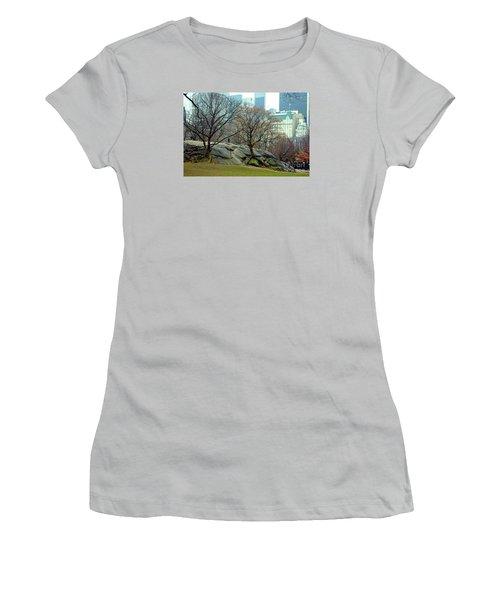 Trees In Rock Women's T-Shirt (Junior Cut) by Sandy Moulder