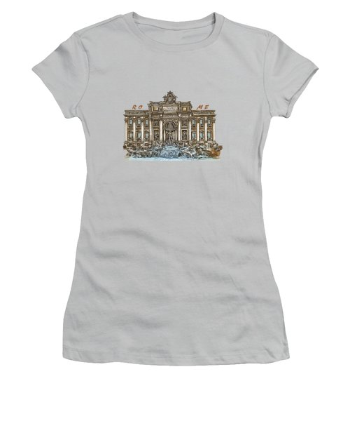 Women's T-Shirt (Junior Cut) featuring the painting  Trevi Fountain,rome  by Andrzej Szczerski