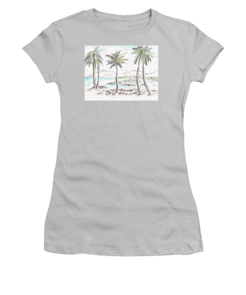 Women's T-Shirt (Athletic Fit) featuring the digital art Tropical Island by Elizabeth Lock