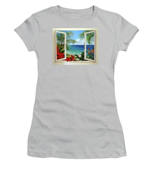 Tropical Window Women's T-Shirt (Junior Cut) by Katia Aho