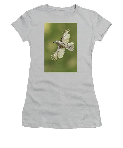 Tufted Titmouse In Flight Women's T-Shirt (Junior Cut) by Alan Lenk