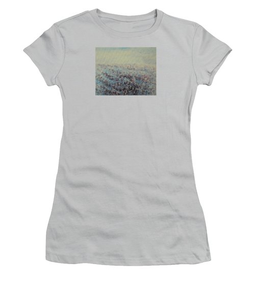 Women's T-Shirt (Junior Cut) featuring the painting Tulips Dance Abstract 3 by Jane See