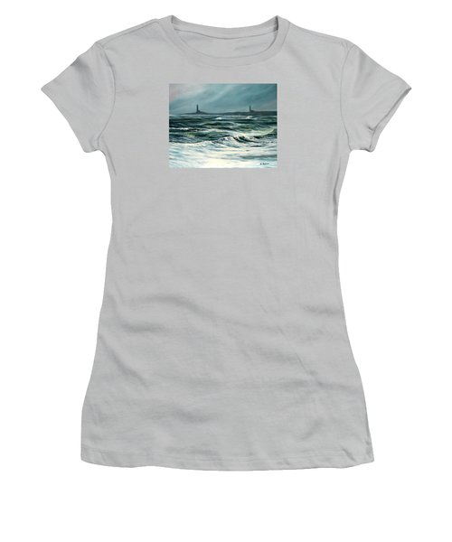 Twin Lights Rockport Ma Women's T-Shirt (Athletic Fit)