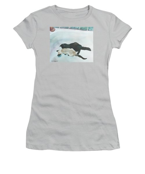 Two Cats In A Tub Women's T-Shirt (Junior Cut) by Anne Gifford