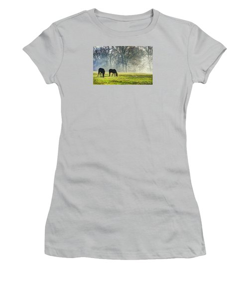 Two Horse Morning Women's T-Shirt (Athletic Fit)