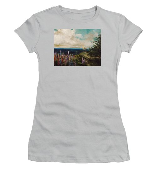 Women's T-Shirt (Junior Cut) featuring the painting Under Full Sail by John Williams