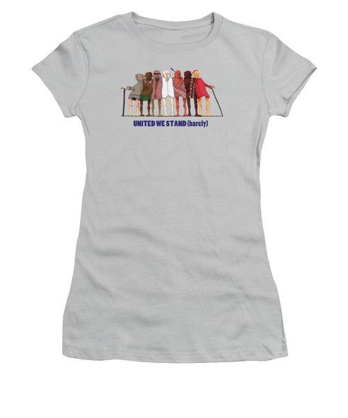 Women's T-Shirt (Junior Cut) featuring the drawing United We Stand Transparent Background by R  Allen Swezey